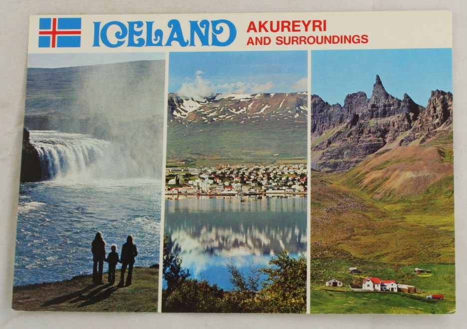 vintage postcard, international cities towns, Iceland, Akureyri