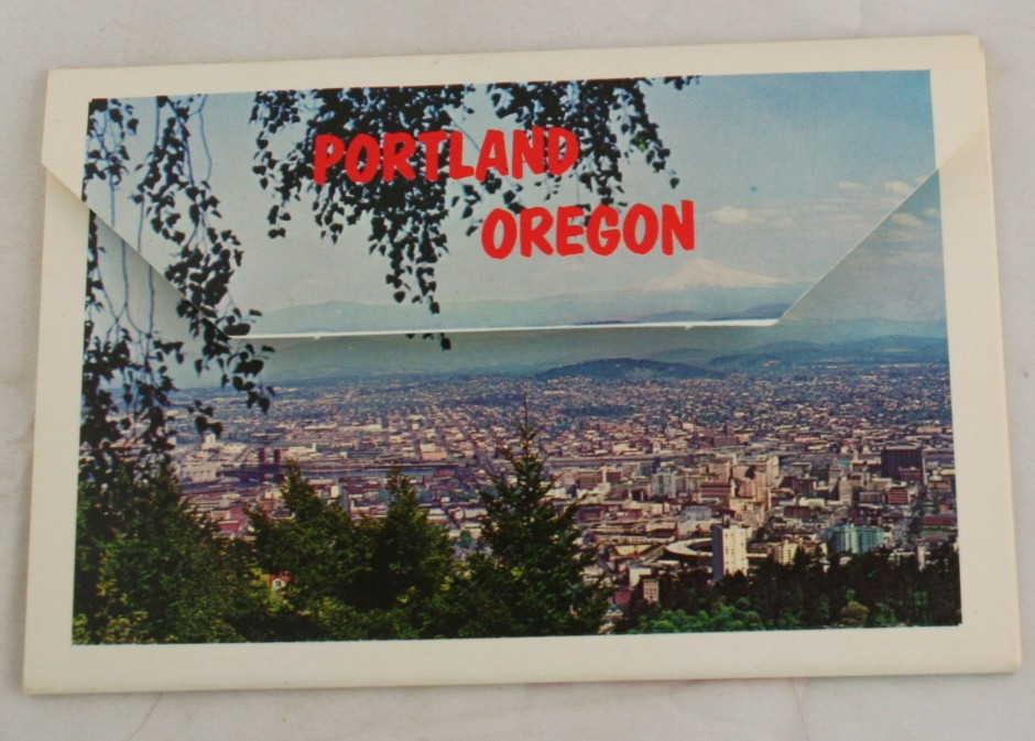 vintage postcard, Portland, Oregon, folder