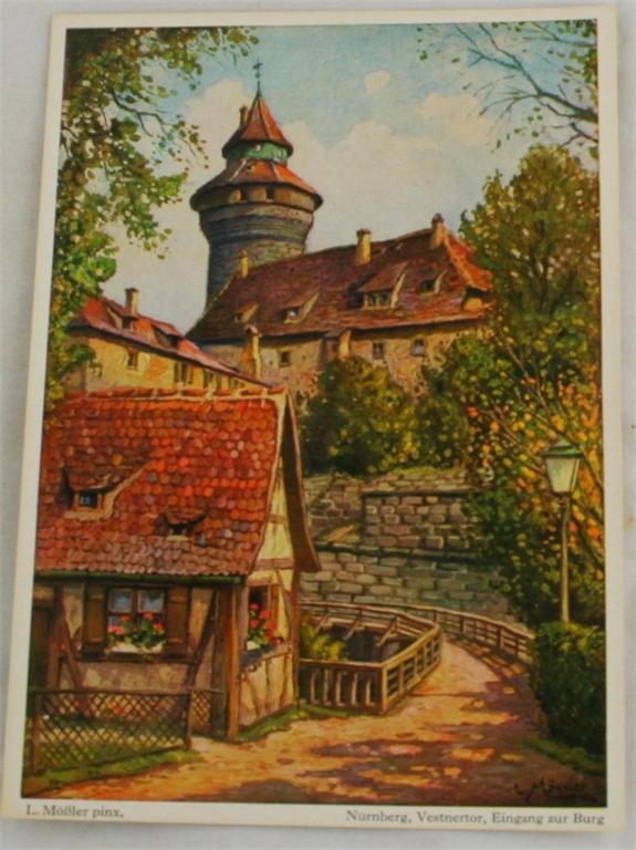 vintage postcard, Germany, L. Mobler, Nurnberg, Bavaria, Eingang zur Burg