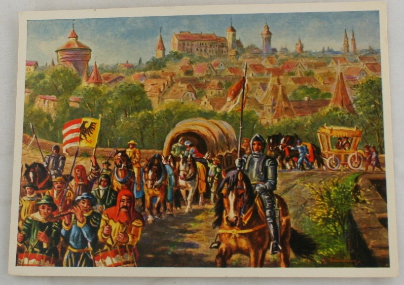 vintage postcard, Germany,Merchants of the 16th Century, Nurnberg, Bavaria