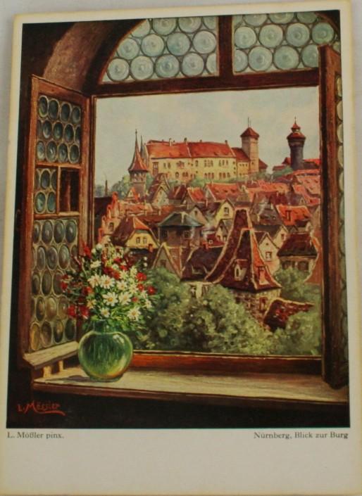 vintage vintage postcard, Germany, L. Mobler, Nurnberg, Bavaria, Blick zur Burg