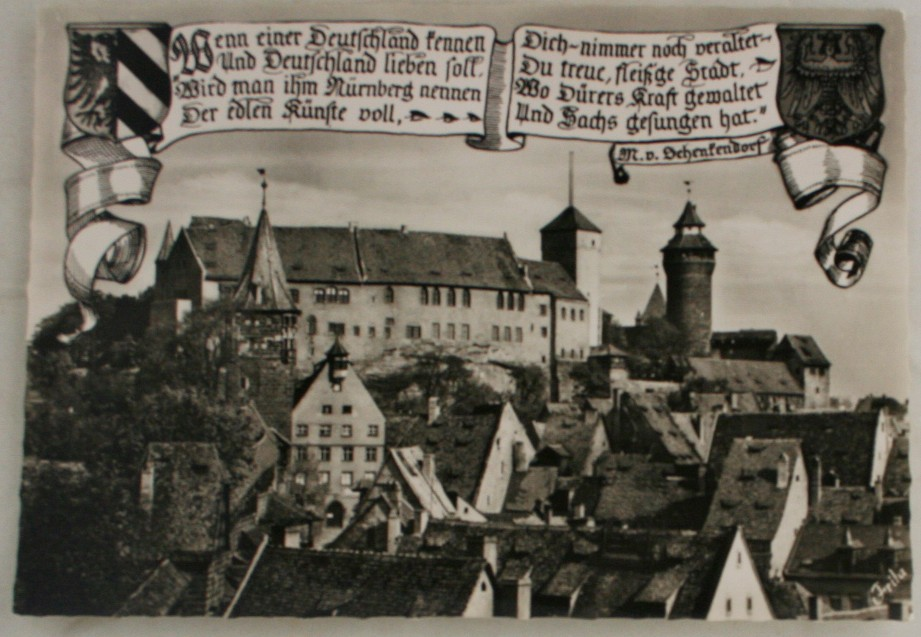 vintage postcard, Germany, Citadel South View, Nurnberg, Bavaria