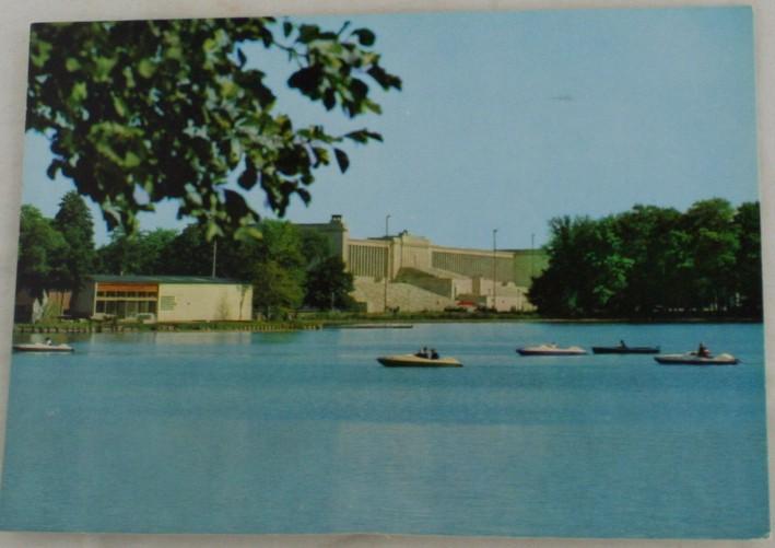 vintage vintage postcard, Germany,  Nurnberg, Bavaria, Dutzendteich and Tribune at Zeppelin Field