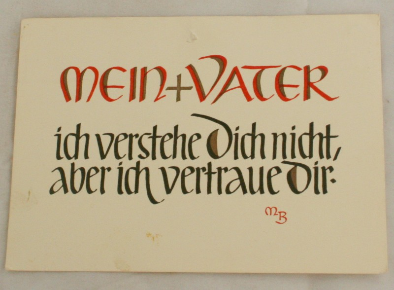 vintage postcard, Germany,My Father, Calligraphy