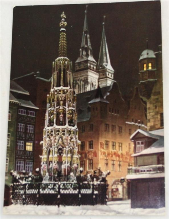 vintage postcard, Germany, Schoner Brunnen,  Nurnberg, Bavaria