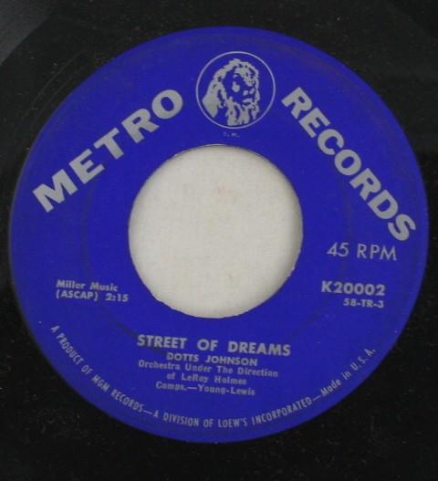vintage record, Dotts Johnson, Street of Dreams, Metro Records, 45, vinyl