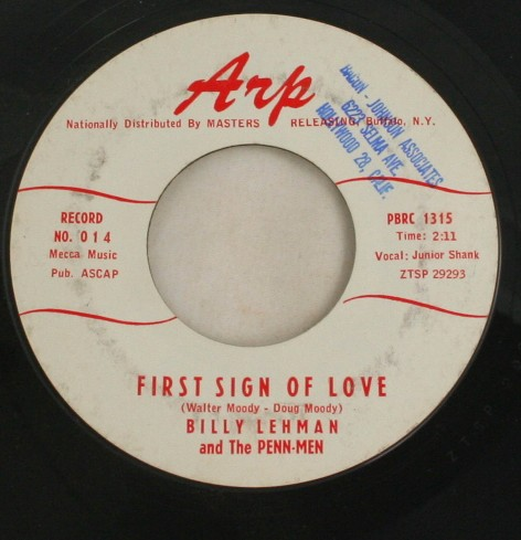 vintage record, vinyl, 45, Billy Lehman, First Sign of Love, Audrey, Arp Records
