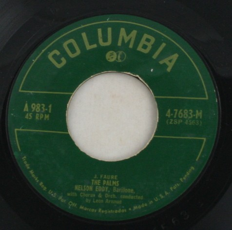 vintage record, vinyl, 45, Nelson Eddy, The Palms, The Holy City, Columbia Records