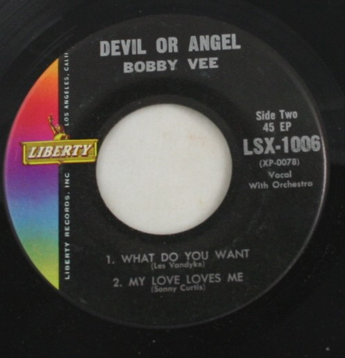 vintage record, Bobby Vee, Devil or Angel, Liberty Records, 45, vinyl