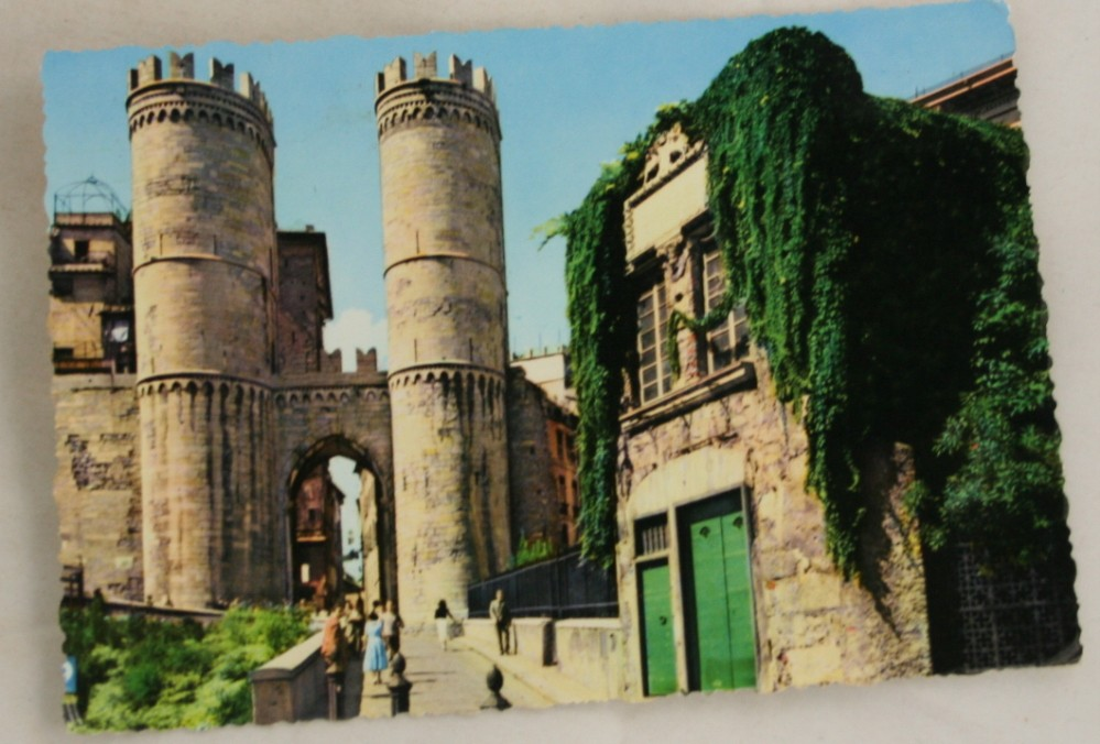 vintage postcard, Italy, Genova, Towers