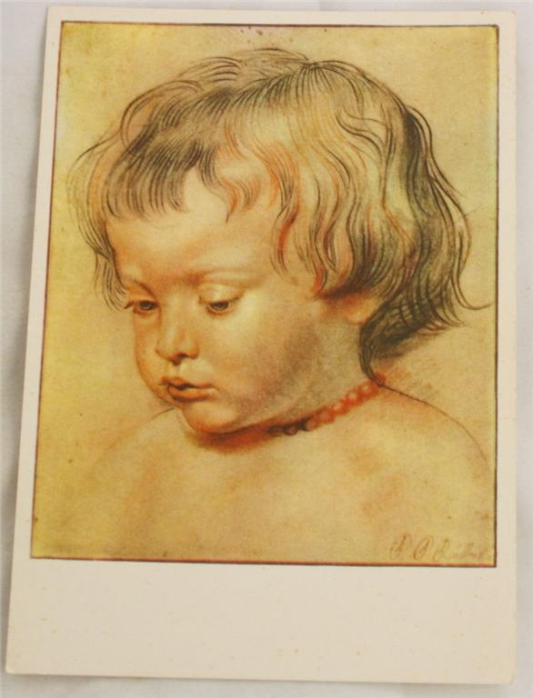 vintage postcard, art, Albrecht Durer, Child