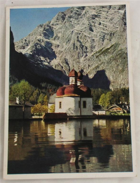 vintage postcard, Germany, Bavaria, St. Bartholoma am Konigssee