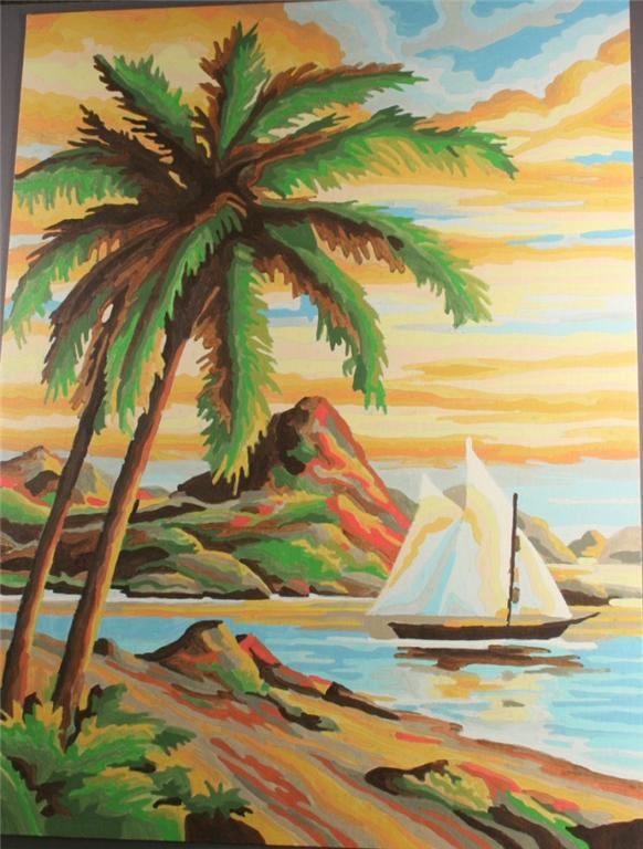 vintage paint by number, completed,tropical bay, sailboat, palm trees
