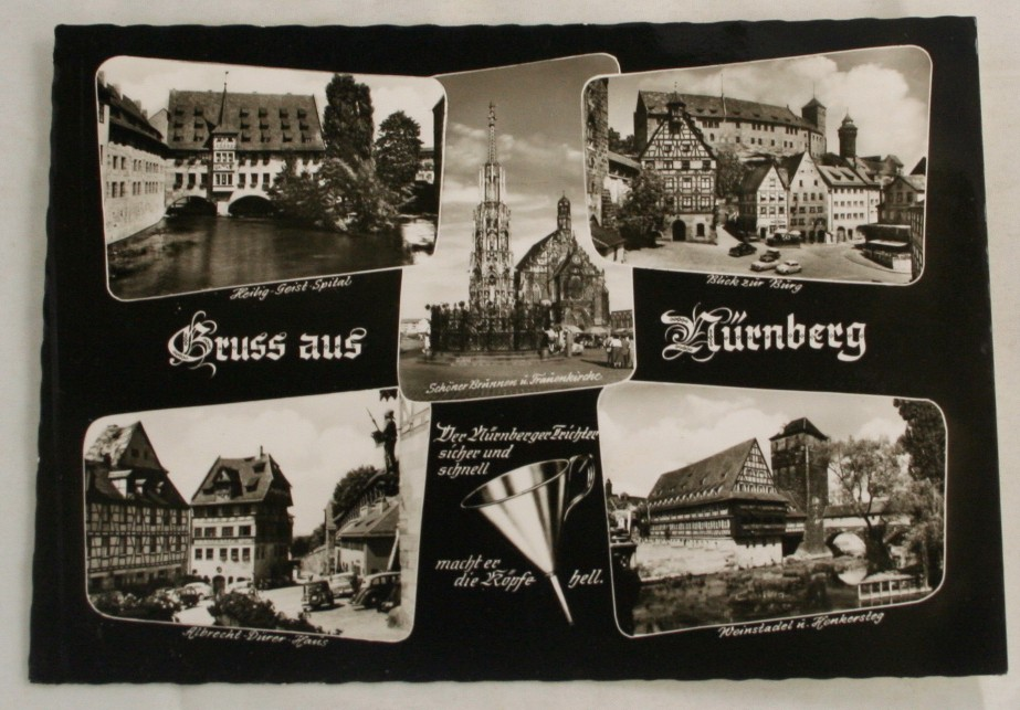 vintage postcard, black and white, views of Nurnberg