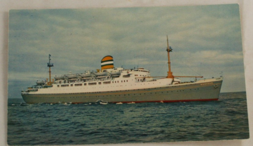 vintage postcard, cruise ship, ss Maasdam, holland america lines, litho
