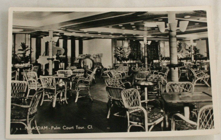 vintage postcard, cruise ship, ss Maasdam, holland america lines, real photo,palm room, tourist class