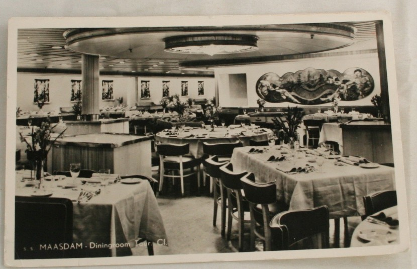 vintage postcard, cruise ship, ss Maasdam, holland america lines, real photo, dining room, tourist class