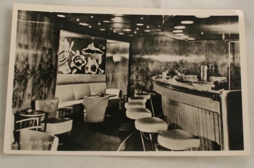 vintage postcard, cruise ship, ss Maasdam, holland america lines, real photo, bar