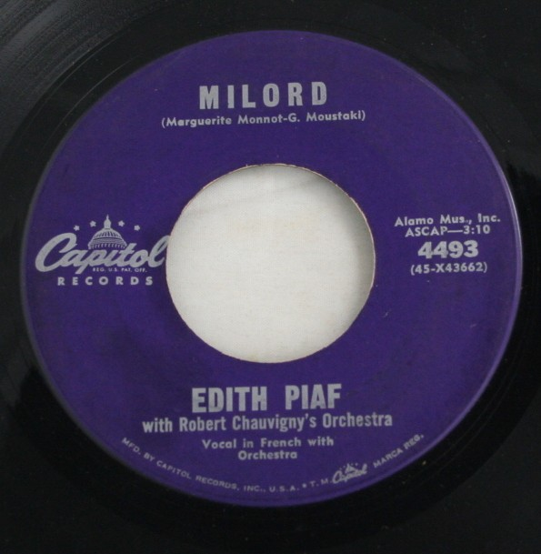 vintage record, vinyl, 45, milord, edith piaf, french vocal, instrumental, Robert Cheauvigny Orchestra, Franck Pourcel Orchestra,Capitol