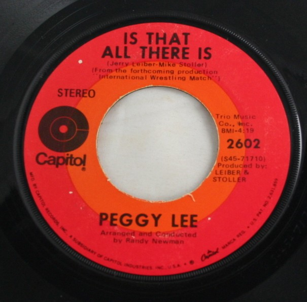 vintage record, vinyl, 45, Peggy Lee, Is That All There Is, Me and My Shadow,Capitol