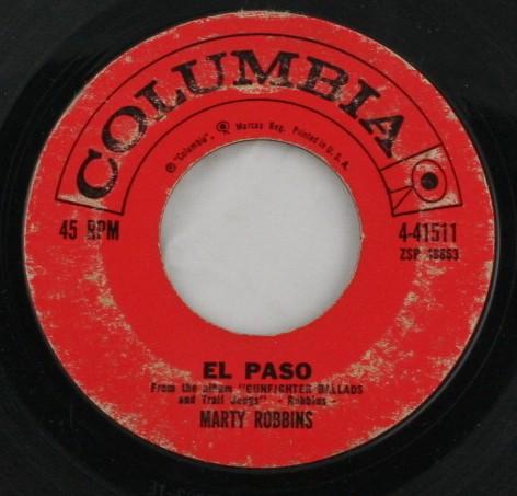 vintage record, vinyl, 45, Marty Robbins,El Paso,Running Gun,Columbia
