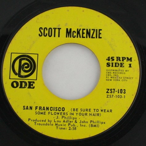 vintage record, vinyl, 45, Scott McKenzie,San Francisco, Be Sure to Wear Some Flowers In Your Hair,What's The Difference,ODE