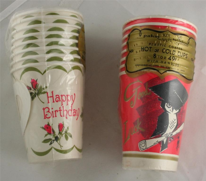 vintage party cups, Hallmark, birthday, graduation
