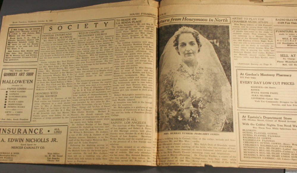 vintage paper, newspaper, 1938, South Pasadena Review, society, advertising