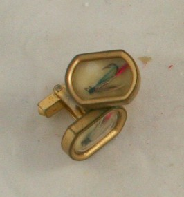 vintage jewelry, men's, cufflink, cufflinks, cuff links, Swank, fly fishing lure