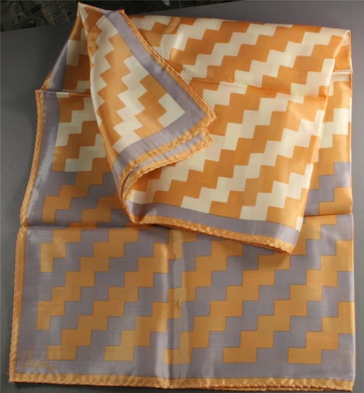 vintage scarf, silk ,Vera, geometric, signed