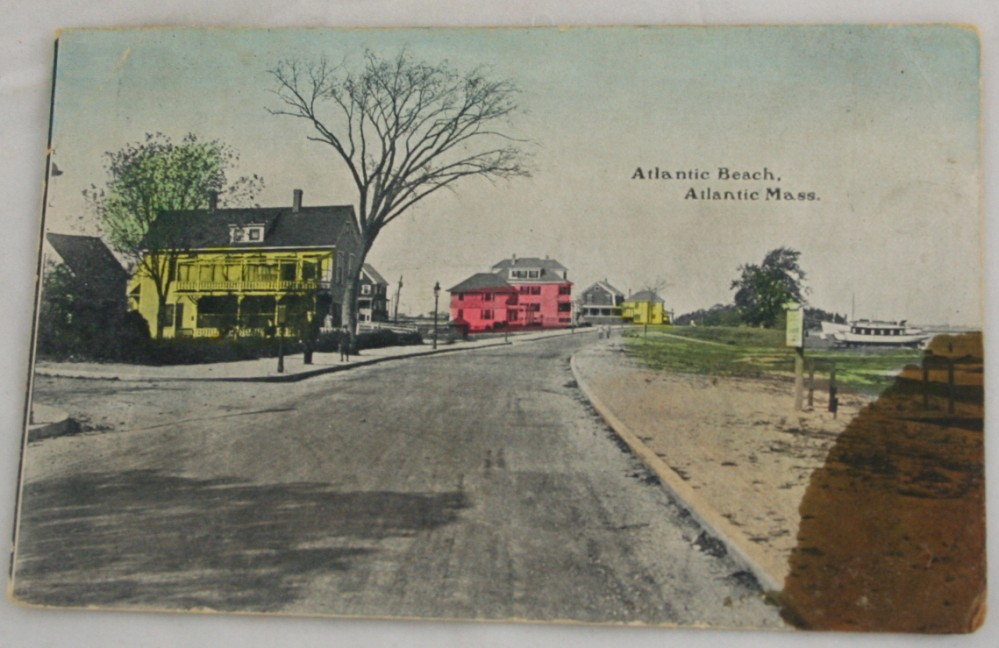 vintage postcard,hand colored,hand coloured,Massachusetts, Atlantic, Atlantic Beach