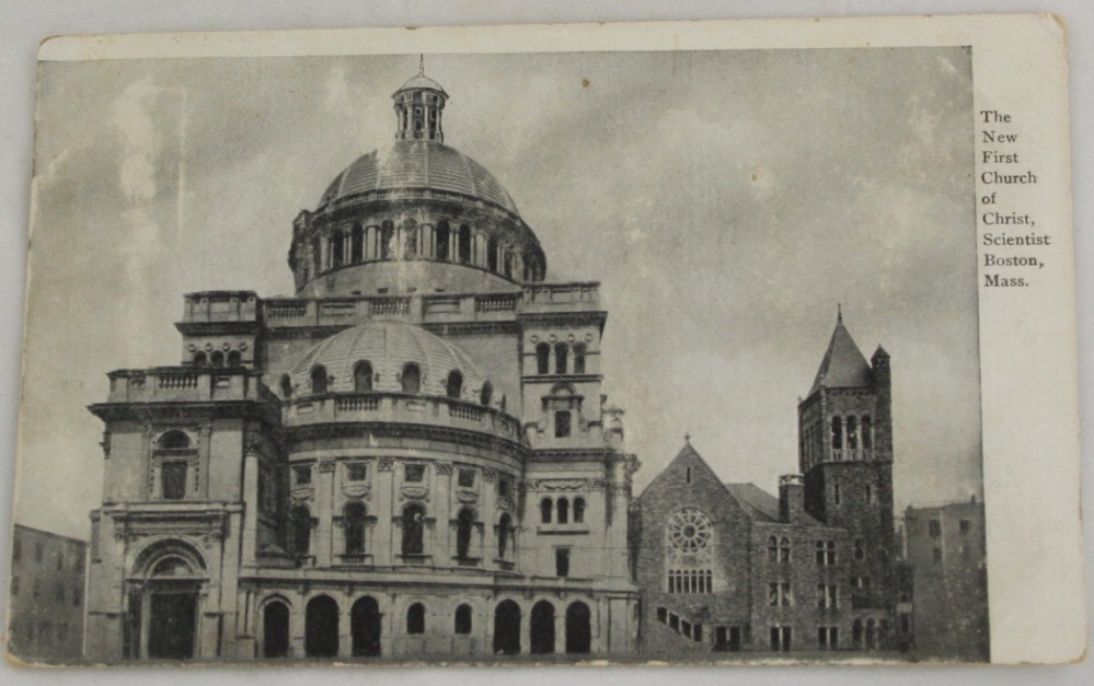 vintage postcard,black and white,Massachusetts, Boston, First Church of Christ Scientist