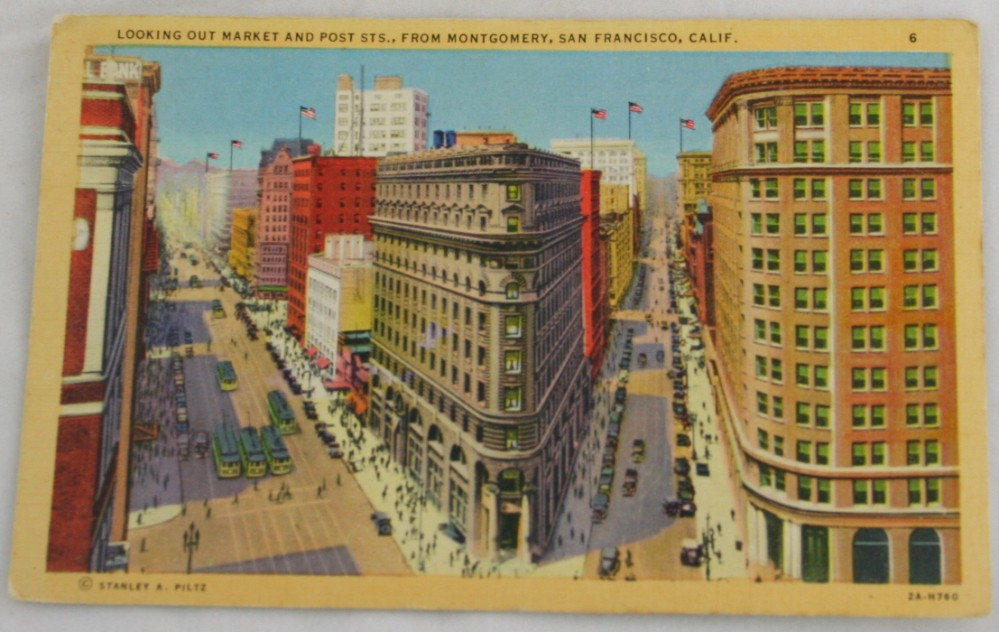 vintage postcard,lithograph,California, San Francisco,Market Street
