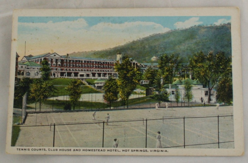 vintage postcard, Hot Springs, Virginia, VA, Hand colored, hand coloured