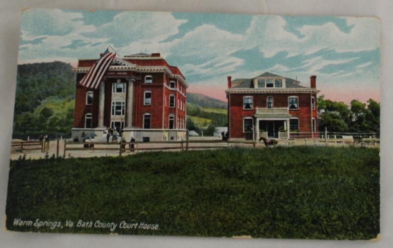 vintage postcard, Warm Springs, Virginia, VA, Hand colored, hand coloured