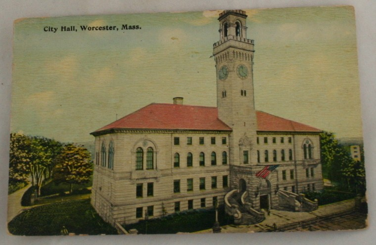 vintage postcard, Worcester,Massachussets,MA, Hand colored, hand coloured