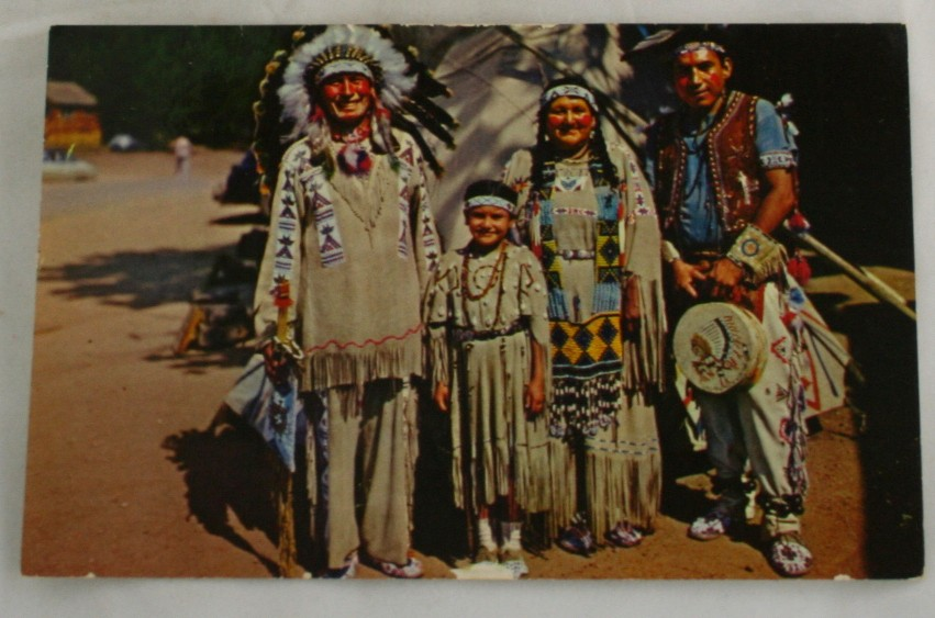 vintage postcard, native americana, Chief Running Horse, Family, regalia