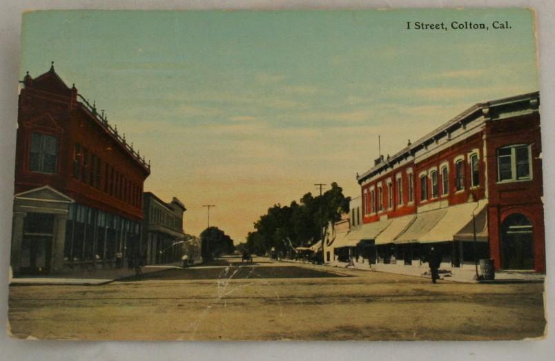 vintage postcard,Colton, California, CA, I Street, Hand colored, hand coloured