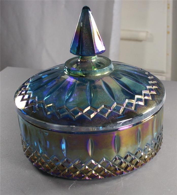 vintage carnival glass, carnival glass, blue, candy dish, lid