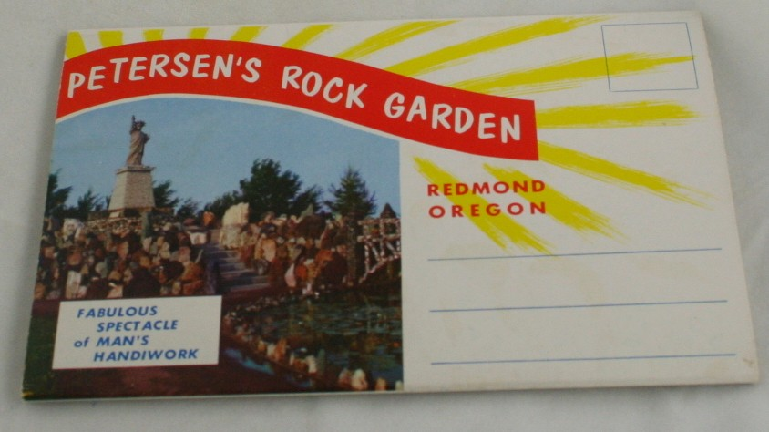 vintage postcard folder,Peterson Rock Garden,Redmond,Oregon