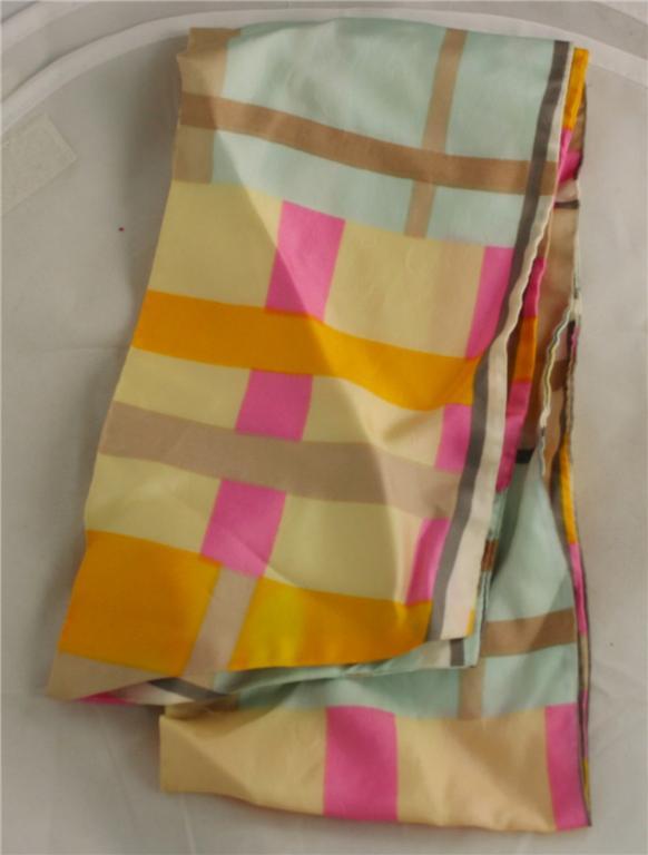 vintage scarf, mod, plaid, acetate, poly, pastel