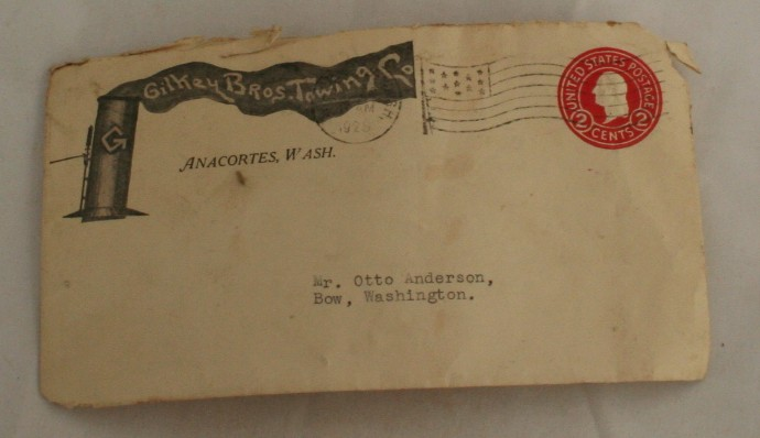 vintage ephemera,envelope, 1928, WA,Anacortes, stamped