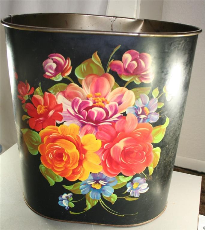 vintage metalware, tin, wastebasket, waste basket, roses, printed, tole,Harvell