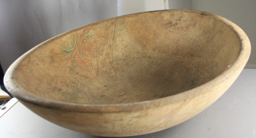 vintage primitive, wood, bowl, dough, wood burn decoration