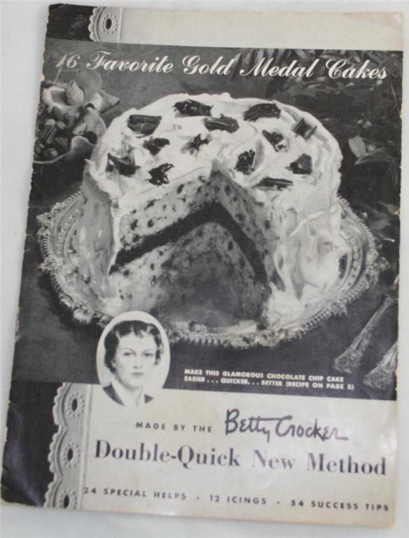 vintage cookbook, pamphlet, booklet, Betty Crocker, cake recipies, Gold Medal Cake