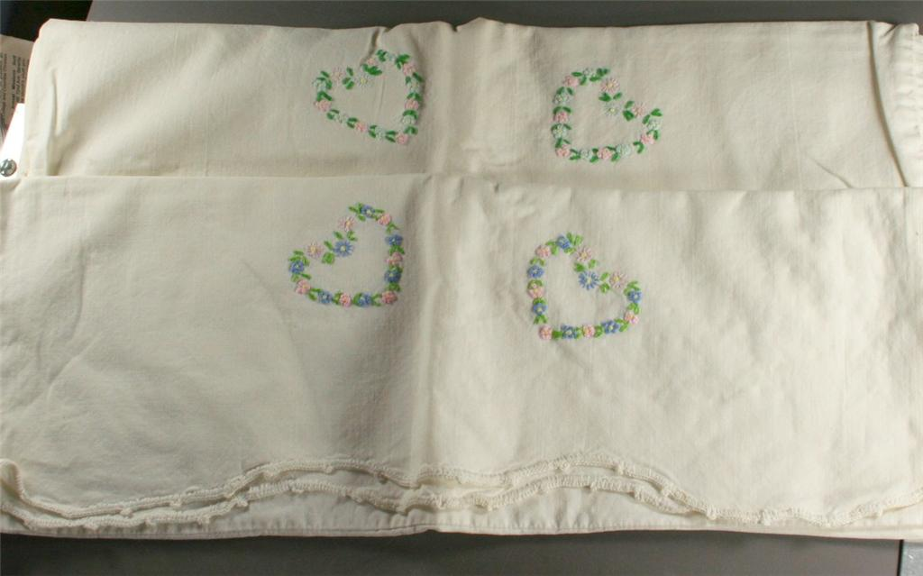 vintage pillowcase, embroidered,hearts