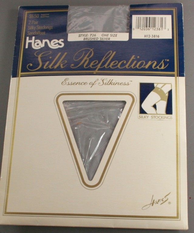 vintage nylons,hosiery,thigh high,Hanes,brushed silver
