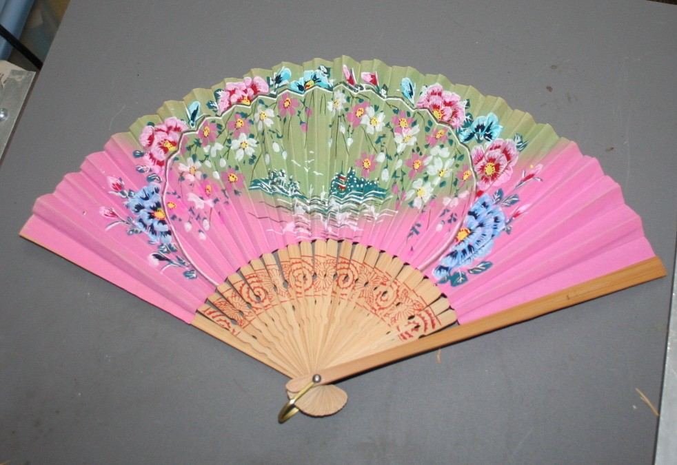 vintage fan, paper, fan, painted, Japan