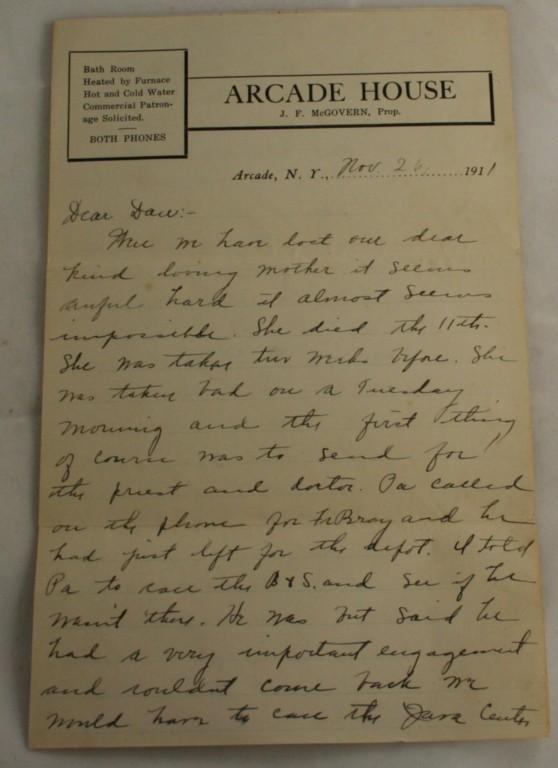 vintage correspondence, letter, 1911, Arcade, New York, Arcade Hotel