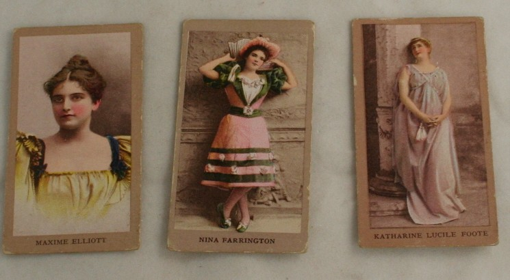 vintage tobacco card, actresses, Katharine Lucile Foote,Maxime Elliott,Nina Farrington,Sweet Caporal